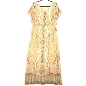Chico's paisley cold shoulder Sienna Dress A722